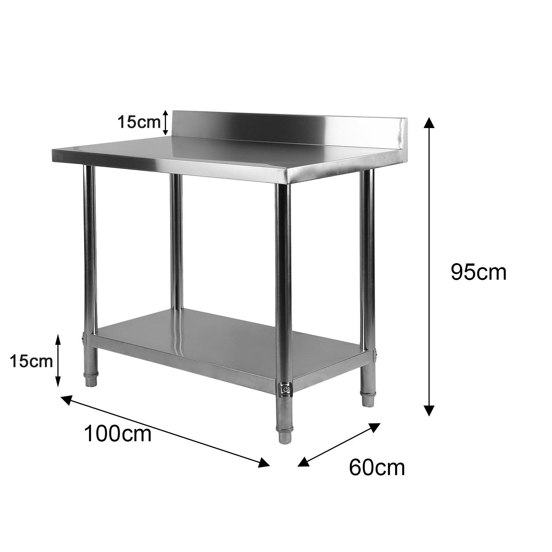 Homgrace Mesa de cocina en acero inoxidable con dos estantes, mesa ...