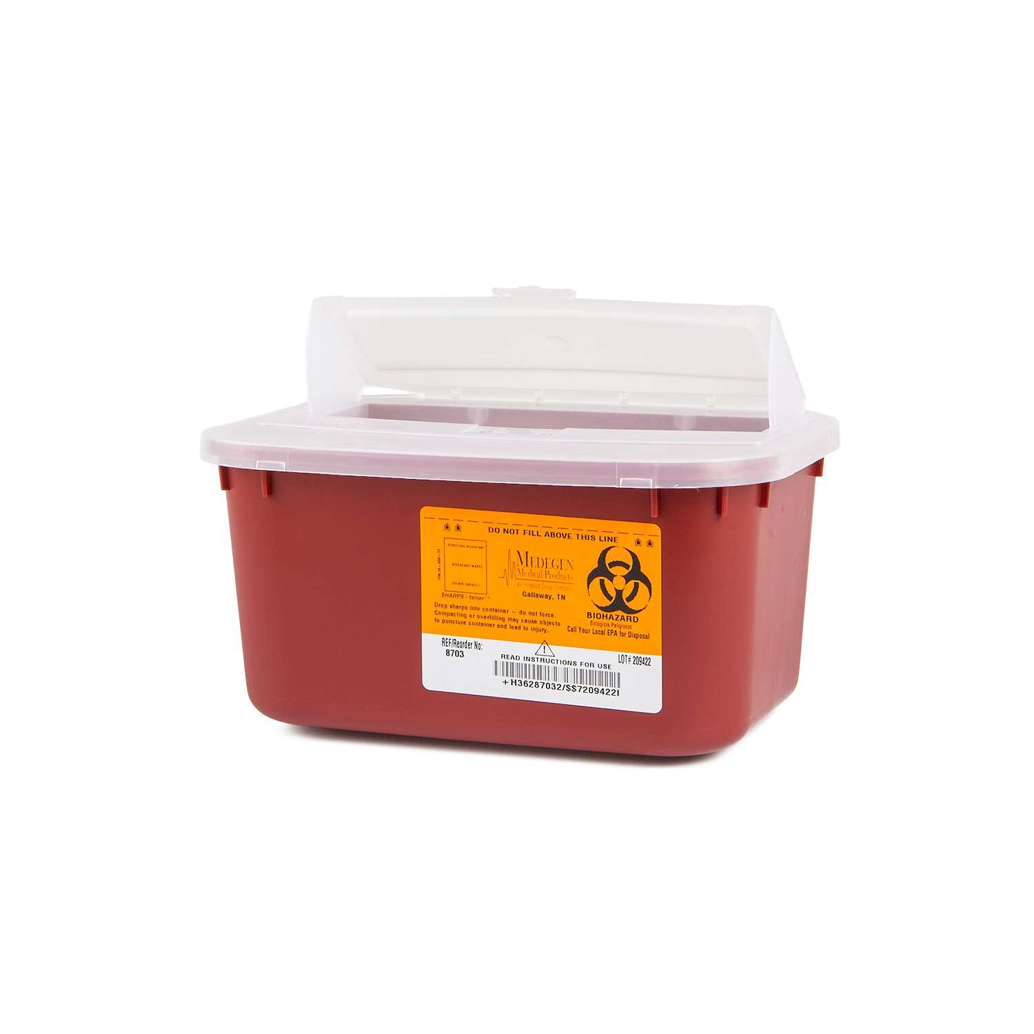 Medegen Medical Products 8703 Stackable Sharps Containers, Polypropylene, 10'' x 7'' x 5'', Medium, Red/Black (Pack of 24)