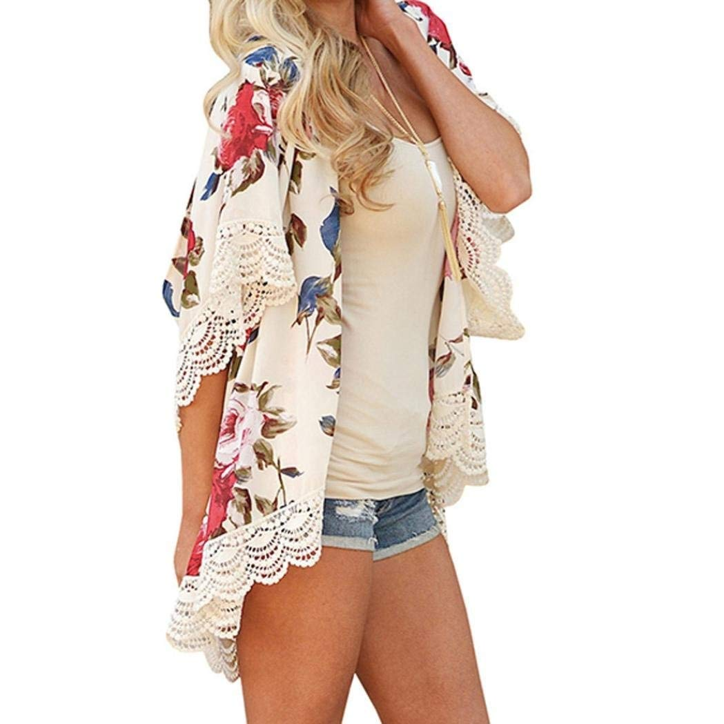 Go-First Womens Beach Cardigan Summer Leisure Elegant Chiffon Ethnic Swimsuit Shawl with Personality Lace Classic Cozy Loose Lightweight Bohemia Temperament Swing Dress (Color : Beige, Size : XL) by Go-first Women Swimwear Cover Ups (Image #5)