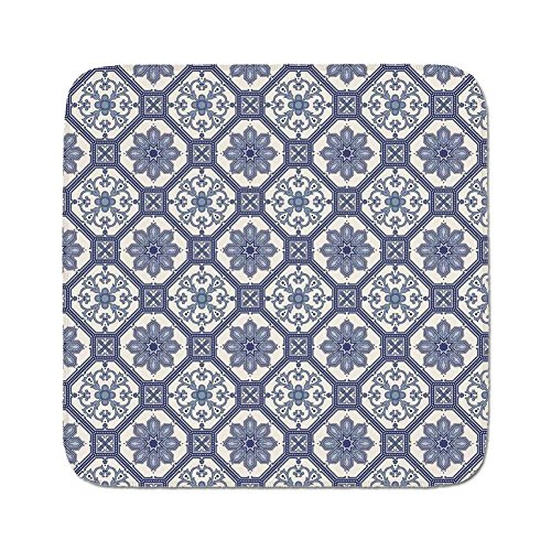 Cozy Seat Protector Pads Cushion Area Rug,Arabian,Arabesque Floral Oriental Persian Afghan Medieval Baroque Tiles Shapes Tribal Artsy,Blue White,Easy to Use on Any Surface