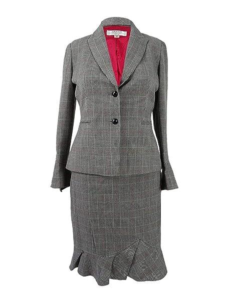 76e5450e41d4 Amazon.com: Tahari ASL Womens Plaid Office Skirt Suit Black 6: Clothing