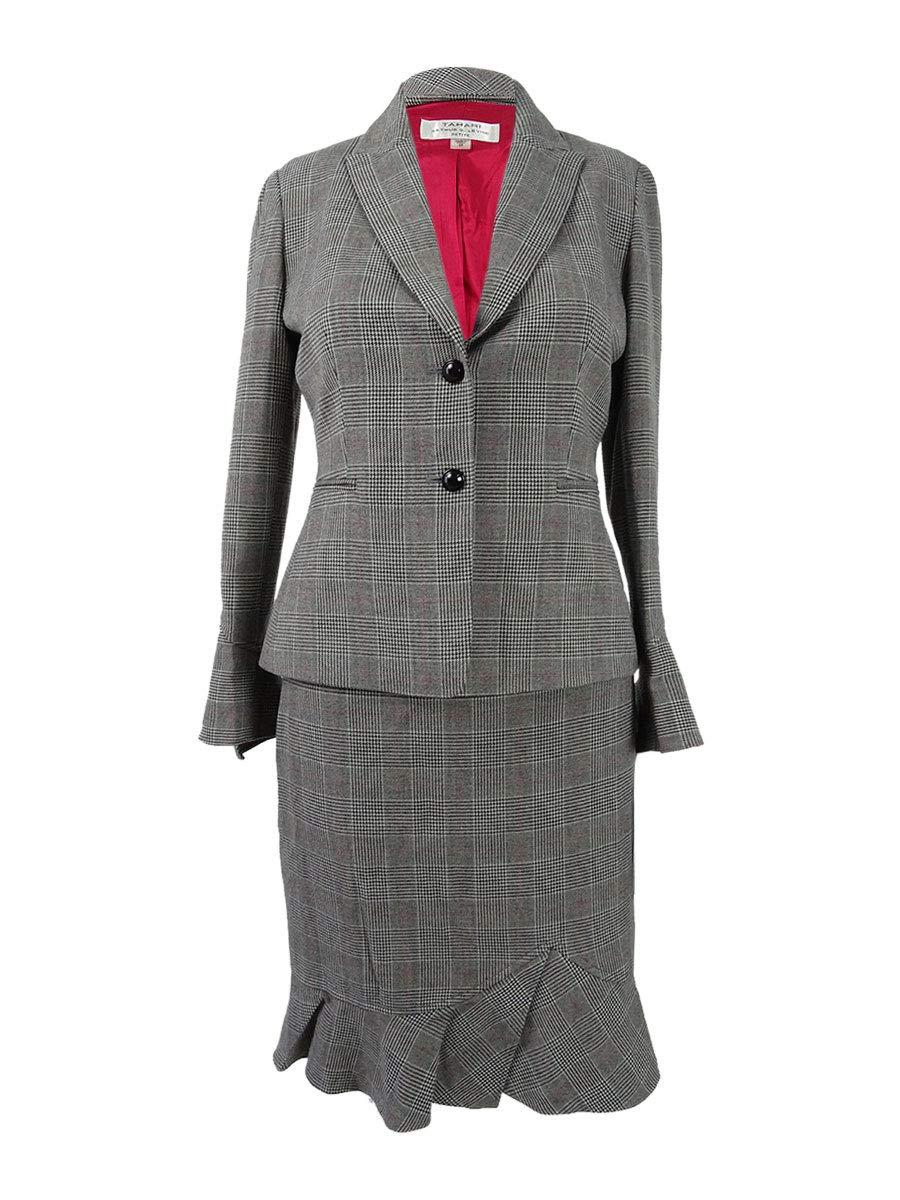 Tahari ASL Women's Petite Plaid Ruffled Skirt Suit (0P, Black/Grey/Red)