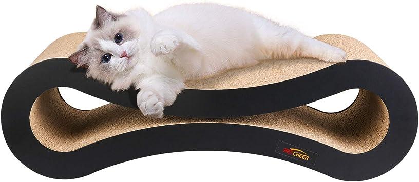 Cartone Ondulato Reversibile Divano per Gatti Tiragraffi per Gatti in Cartone Riciclato Resistente con Erba gatta LWAN3