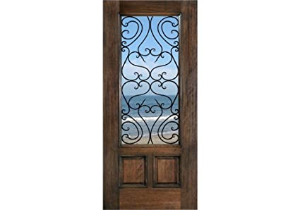 ETO Doors Tuscany   Exterior Mahogany Wood French Style 2 Panel Entry Door  With Clear