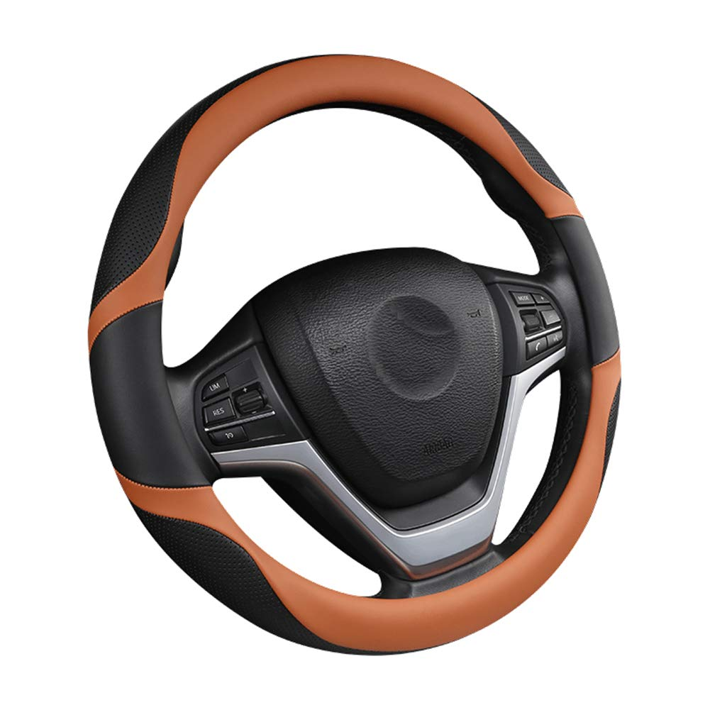 Car Steering Wheel Cover,Microfiber Leather Breathable Anti-Slip Steering Wheel Cover,Auto Car Steering Wheel Cover Universal 15 inch,Red