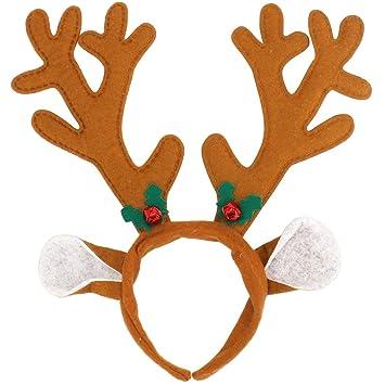 Olen Diadema Cuernos Reno Cuernos Ciervo Disfraz Decoracion Navidad