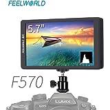 FEELWORLD F570 ビデオカメラモニター 5.7インチ IPS フルHD 1920x1080 オンカメラビデオモニター 4K HDMI信号入力・出力可能 DSLR デジタル 一眼レフカメラ用