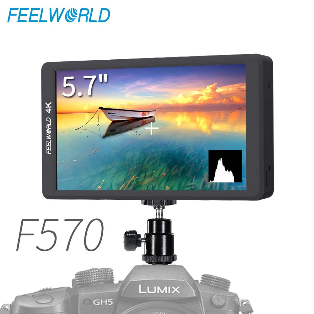 FEELWORLD F570 5.7 inch DSLR on Camera Field Monitor Small HD Focus Video Assist IPS Full HD 1920x1080 Support 4K HDMI Input Output Rugged Aluminum Housing by FEELWORLD
