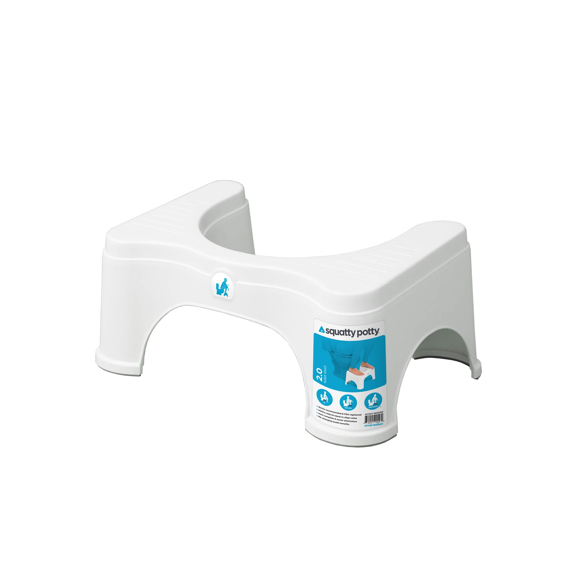 Squatty Potty The Original Bathroom Toilet Stool - 2.0 Base Only, 7 inch Height - White