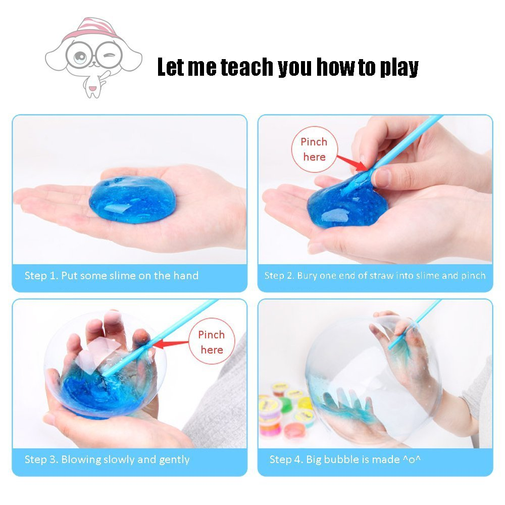Slime Magic Crystal Slime Putty Toy Soft Stress Relief Toys Slime for Kids Adult Students Birthday Party 6-Pack-12oz
