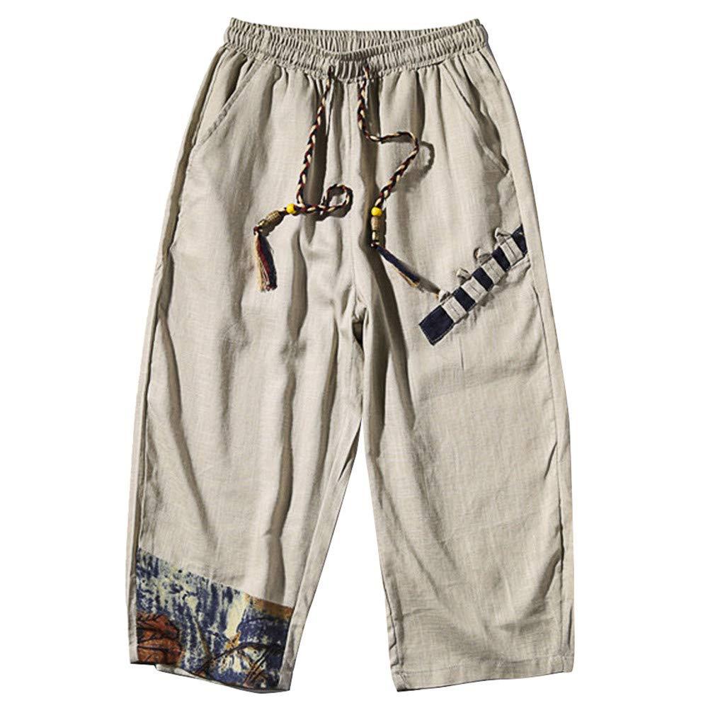 Capri Pants Men,Mosunx Athletic 【Linen Loose Elastic Waist Drawstring】3/4 Baggy Workout Joggers Ninja Harem Shorts (US 30, Beige)