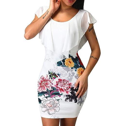 8f723869c207 Women Floral Print O-Neck Sleeveless Ruffles Design Bodycon Mini Dress