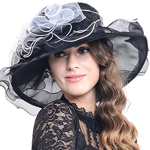 Women Church Kentucky Derby Hat Wedding Bridal Shower Organza Wide Brim Hat (9 Colors) (Black)