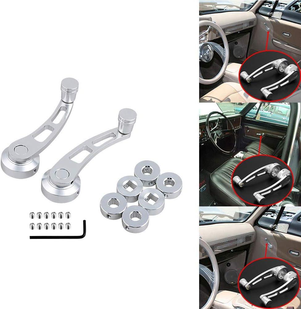2x Chrome Billet Car Pickup Truck Manual Door Crank Handle Window Winders Set 3 Adapters