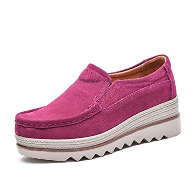 1d77549d0f095 Women Ladies Loafer Flats Platform Shoes Slip on Suede Moccasins Summer Low  top Wedge Sneakers 5cm