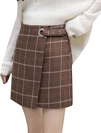 dahuo mini falda escocesa de lana, corte ajustado, cintura alta ...