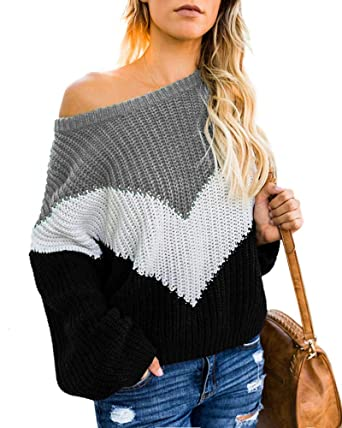 a973c32200 Womens Off The Shoulder Sweater Plus Size Color Block Striped Pullover  Sweaters Sexy Oversized Jumper Tops