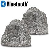 Acoustic Audio RSG8BT Powered Bluetooth Indoor or Outdoor Granite 8'' Rock Speaker Pair