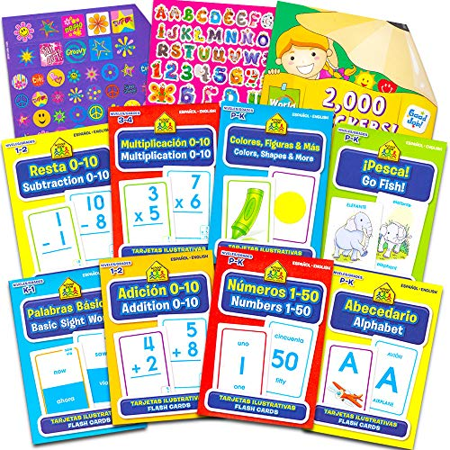 School Zone English And Spanish Flash Cards Super Set Toddler Kids -- 8 Bilingual Packs and Stickers (ABCs, Numbers, Colors, Shapes, Sight Words & over 2000 Reward Stickers!)