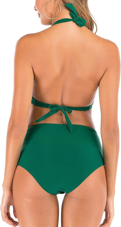 FLYILY Swimsuit for Women High Waisted Bikini Set Ladies Padded Halter Beach Bathing Swimwear