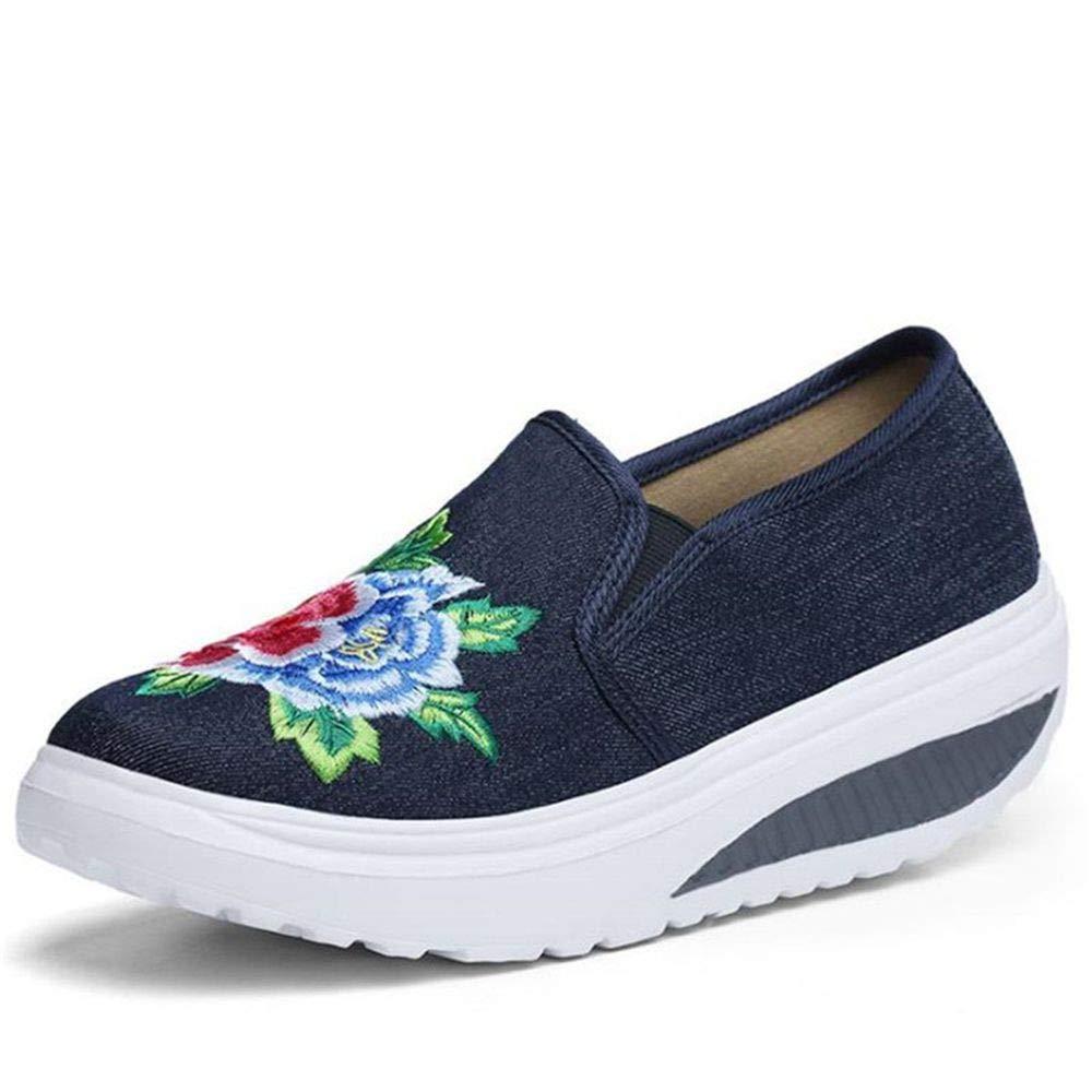 YSFU Turnschuhe Frauen Turnschuhe Sportschuhe Frauen Casual Schuhe Blaumendruck Rutschfeste Schuhe Damenschuhe Große Größe Flache Damenschuhe Atmungsaktiv Leichte Outdoor