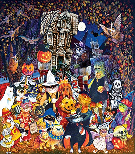 Cats and Dogs on Halloween 300 pc Jigsaw Puzzle by SunsOut