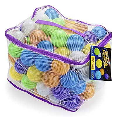 100 Space Adventure Soft Ball Pit Balls with Fun Illustrations and Mesh Carrying Case by Imagination Generation: Toys & Games
