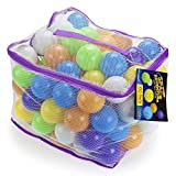 100 Space Adventure Soft Ball Pit Balls with Fun Illustrations and Mesh Carrying Case by Imagination Generation