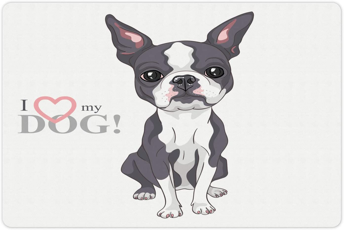 Ambesonne Boston Terrier Pet Mat for Food and Water, Naive Puppy Tiny Dog Breed Standing by The I Love My Dog Message, Rectangle Non-Slip Rubber Mat for Dogs and Cats, Grey Coral and White