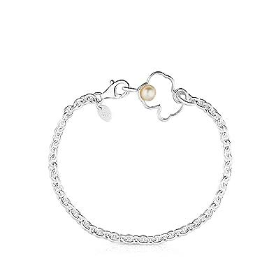 66e4937aa37a TOUS Pulsera cadena Mujer con silueta de Plata y perla. Largo  18 cm ...