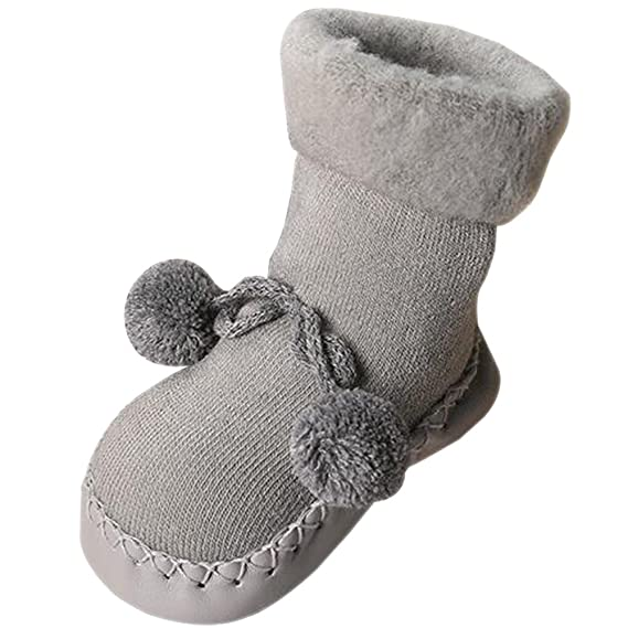 KINDOYO Calcetines Zapatillas para Bebés Niña Niño Antideslizantes Color sólido Lindo Pelota pequeña Calcetines Prewalkers Zapatos 0-24 meses, ...