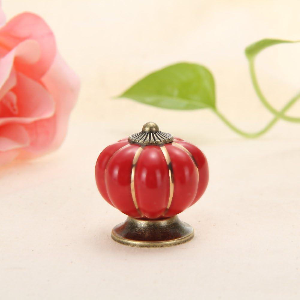 Rosso Demiawaking Maniglia Vintage per Mobili Maniglia in Ceramica a Forma di Zucca per Armadietti Credenza Cassetto Armadio Porta