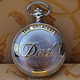 WEI PENG Dad Face Roman numerals white Dial Stainless Steel Pocket Watch + Chain