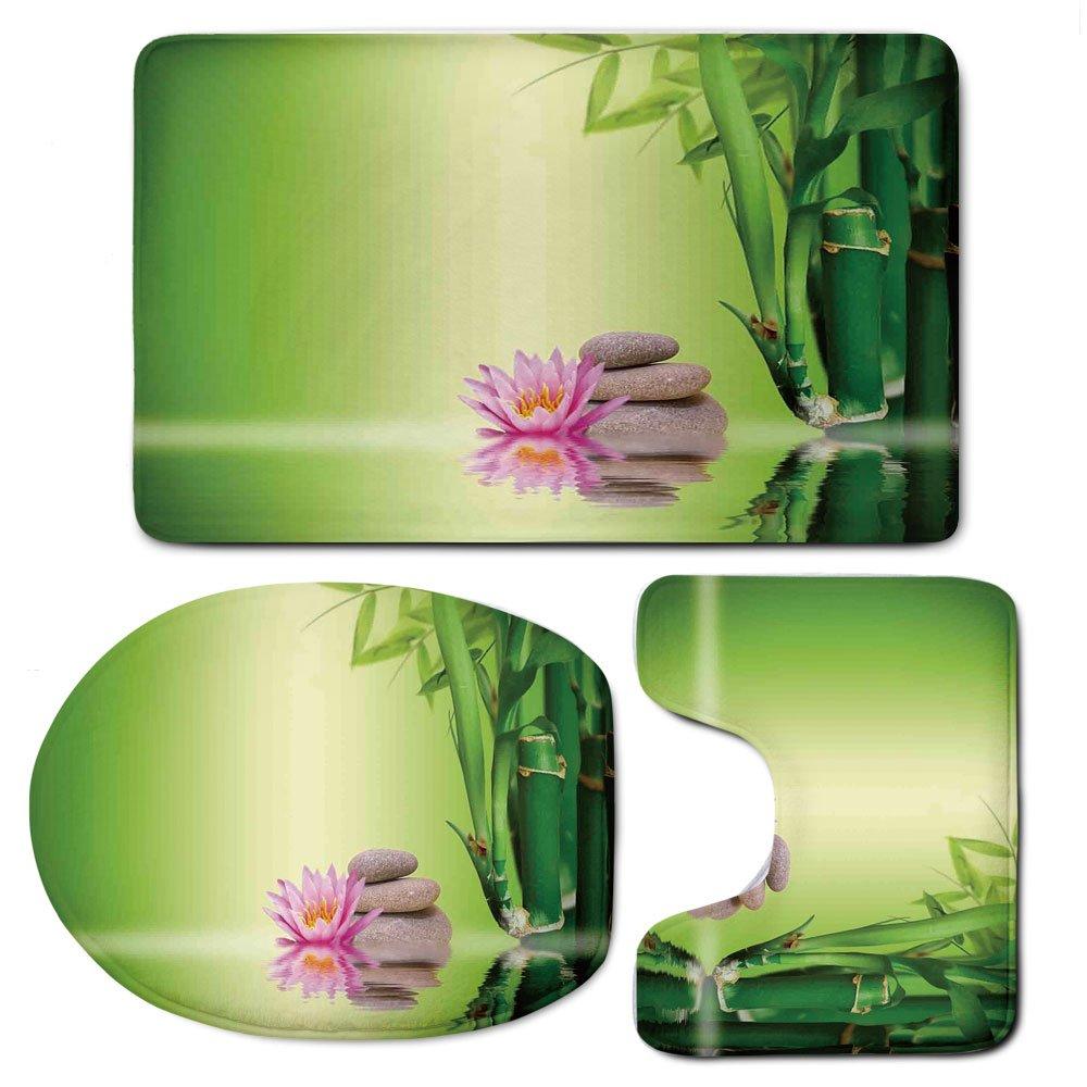 3 Piece Bath Mat Rug Set,Spa-Decor,Bathroom Non-Slip Floor Mat,Zen-Garden-Asian-Self-Control-Freshening-Insight-in-Daily-Life-Mindful-Activity-Relax-Print,Pedestal Rug + Lid Toilet Cover + Bath Mat,Gr
