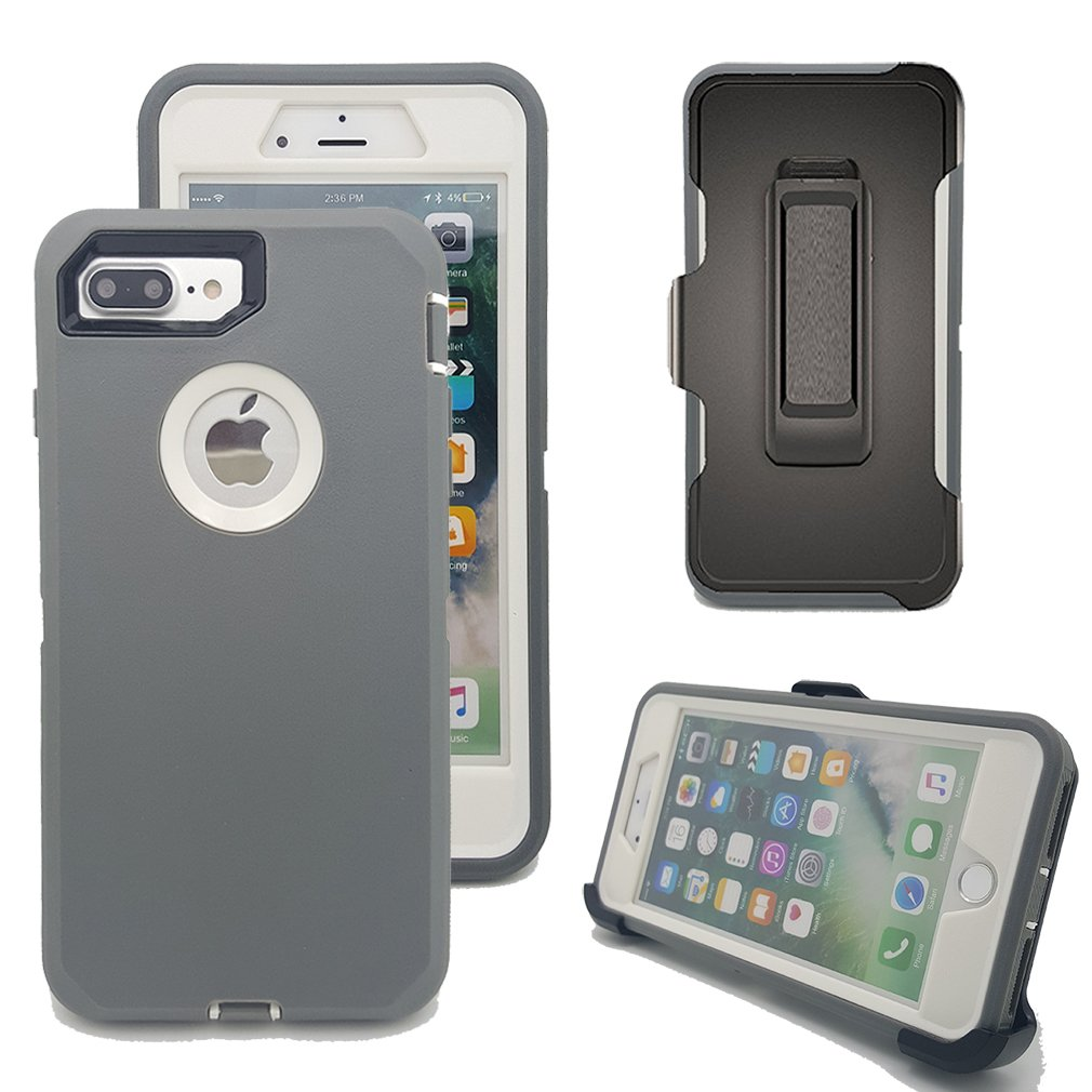 iPhone 8 Plus Case, Harsel Heavy Duty Rugged High Impact Resistant Full Body Shockproof Military Case Cover with Swivel Belt Clip Built-in Screen Protector for iPhone 7 / 8 Plus (Gray White)
