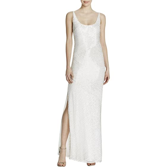 Aidan Mattox Womens Beaded Sleeveless Evening Dress White 2 at ...