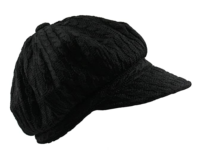 a4334e9dc Knit Cable Newsboy Hat (BLACK) at Amazon Women's Clothing store: