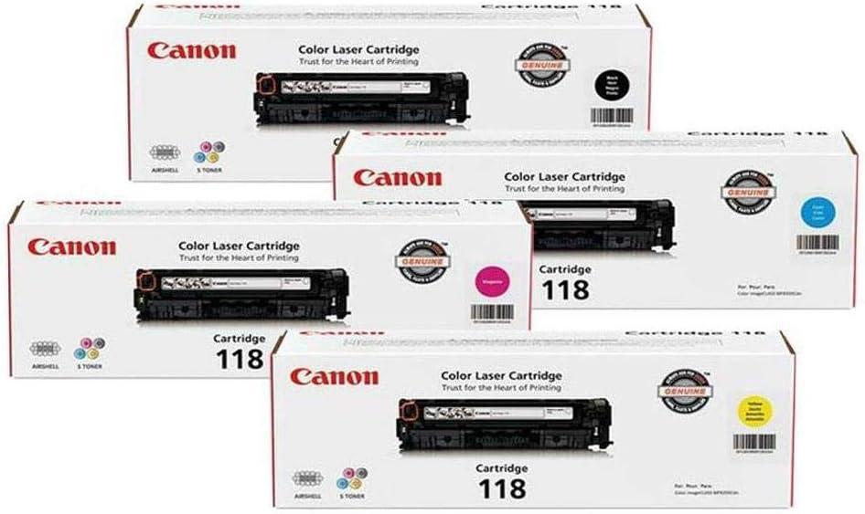 Canon 118 Toner Cartridge Bundle for imageCLASS MF8350/MF8580 Color Laser Printer/Black/Cyan/Magenta/Yellow