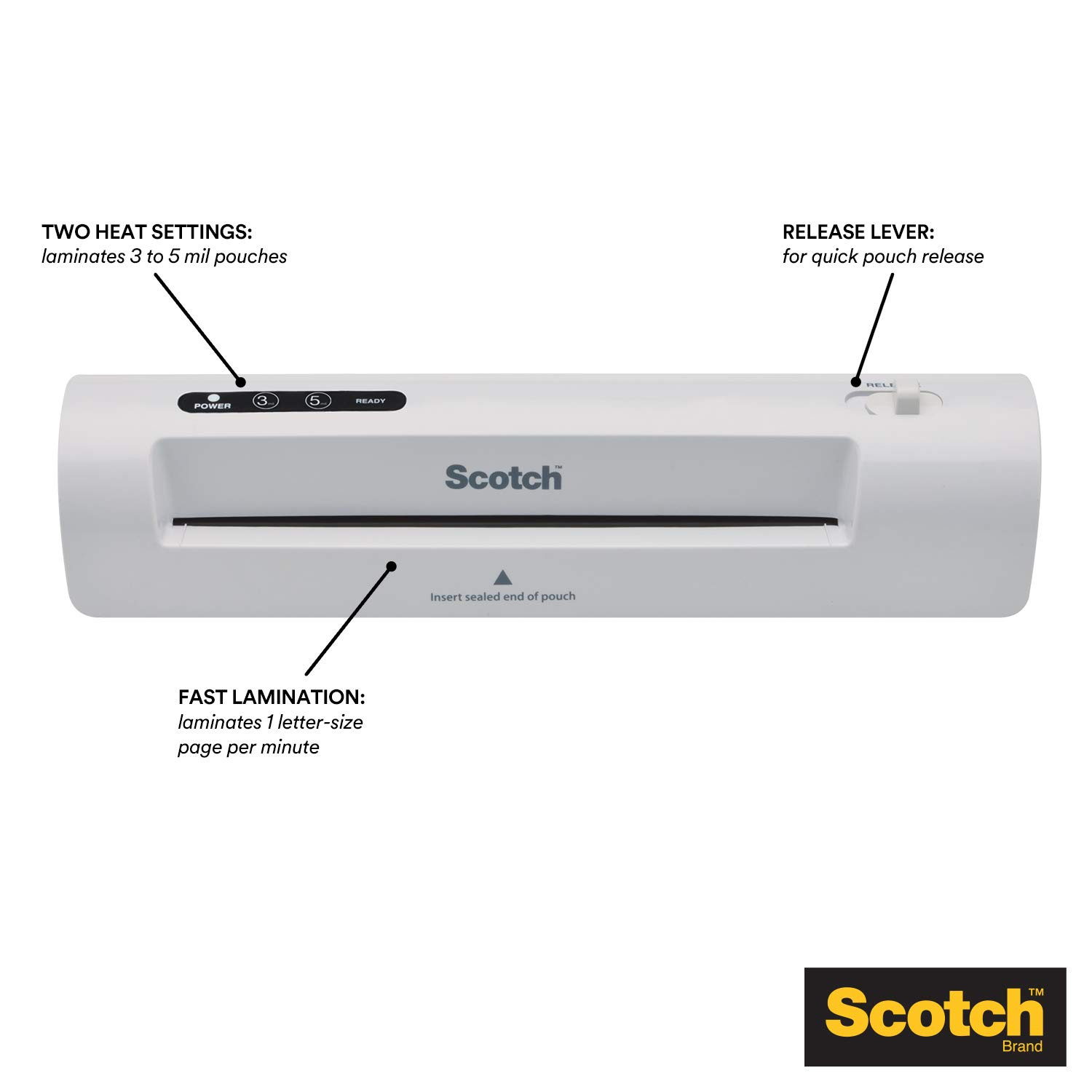 Scotch Thermal Laminator 2 roller system TL901 15.5 x 6.75 x 3.75- Inches Silver//Black