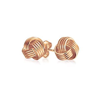 0a9e5f62b86fc Rose Gold Plated 925 Sterling Silver Love Knot Stud Earrings Woven Braided  Small 8mm  Amazon.co.uk  Jewellery
