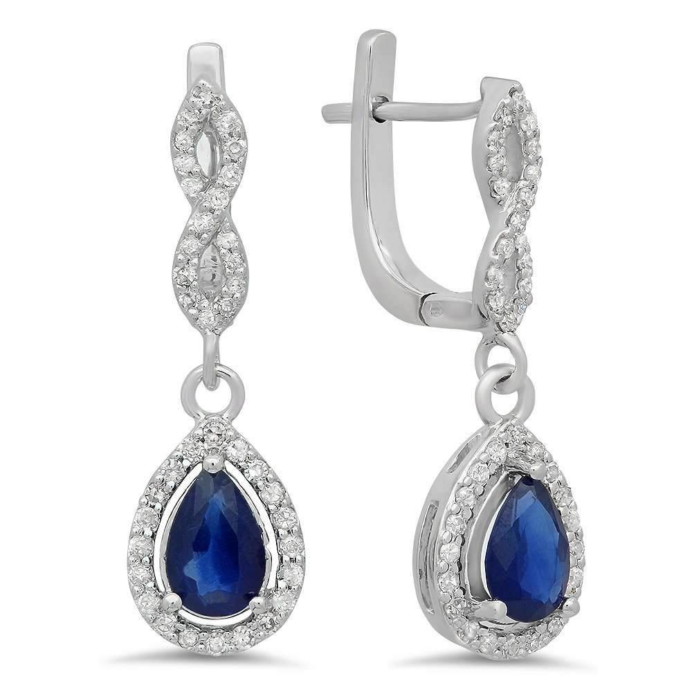14K White Gold Pear Blue Sapphire & Round White Diamond Ladies Halo Style Dangling Drop Earrings