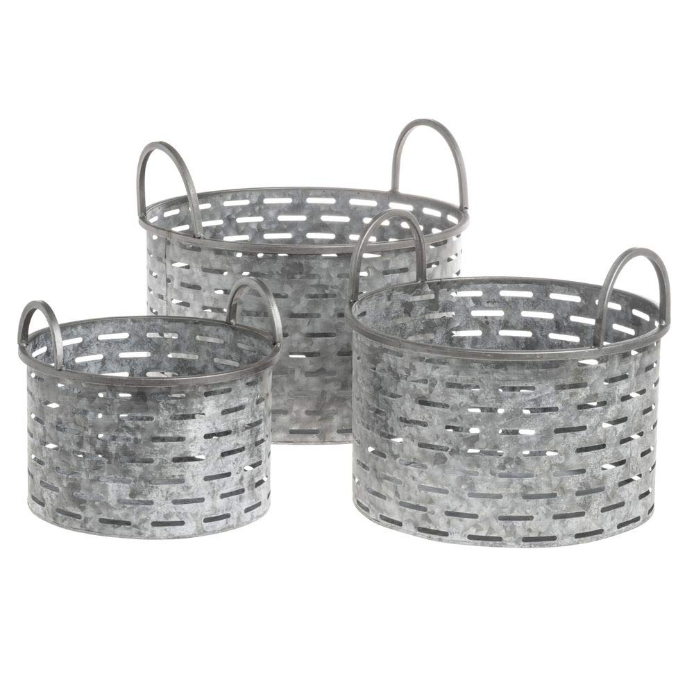 Galvanized Metal Bins with Handles, Set of 3