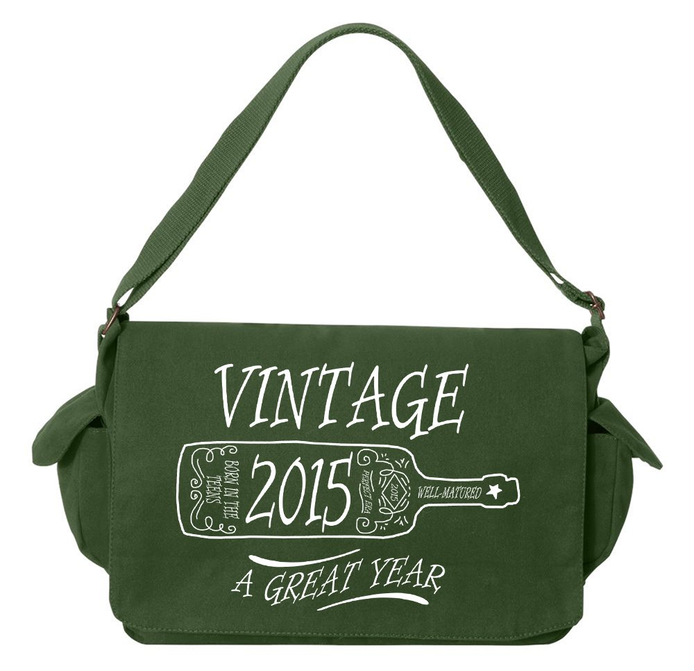 Tenacitee Aged Like a Fine Wine 2015 Green Brushed Canvas Messenger Bag