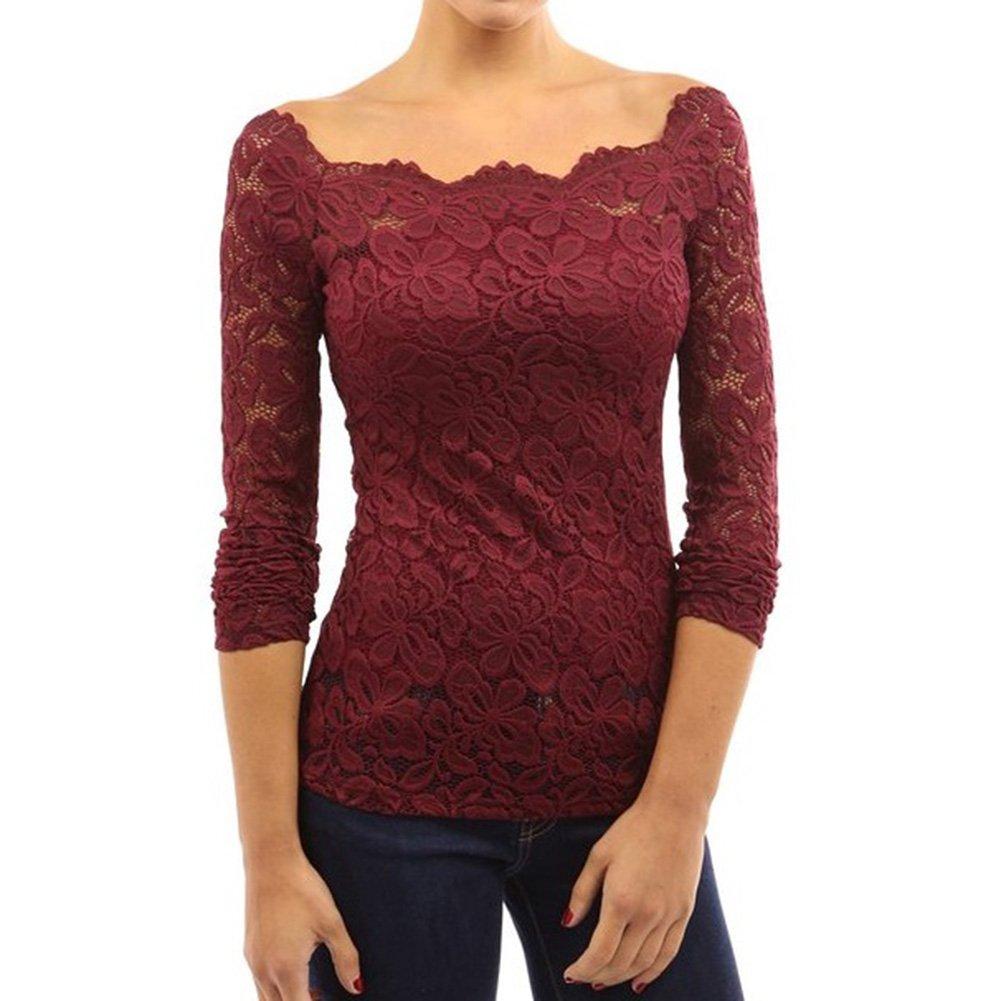 Juleya Mujer Tops de Encaje Blusa Elegante señora Cuello Redondo Camisa Cordón Tejer Flores Tops Largo Manga Camiseta por Negocio Cena Fiesta: Amazon.es: ...