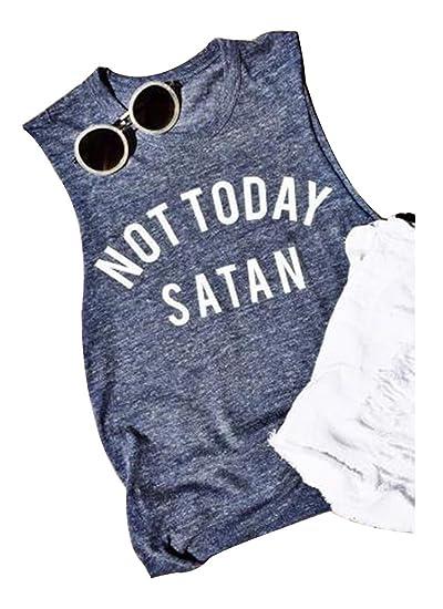 61228e347 Amazing speed Women Not Today Satan Sleeveless V-Neck Tank Top Vest (S,