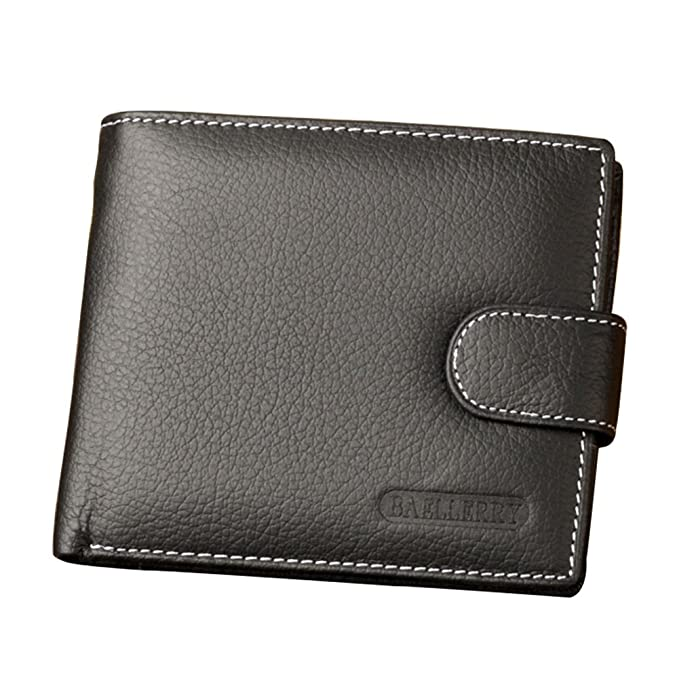 f2af1e1a0cf58 2 ID Window bifold Snap Closure Wallet With Coin Purse Zipper Pocket For Men  RFID Blocking