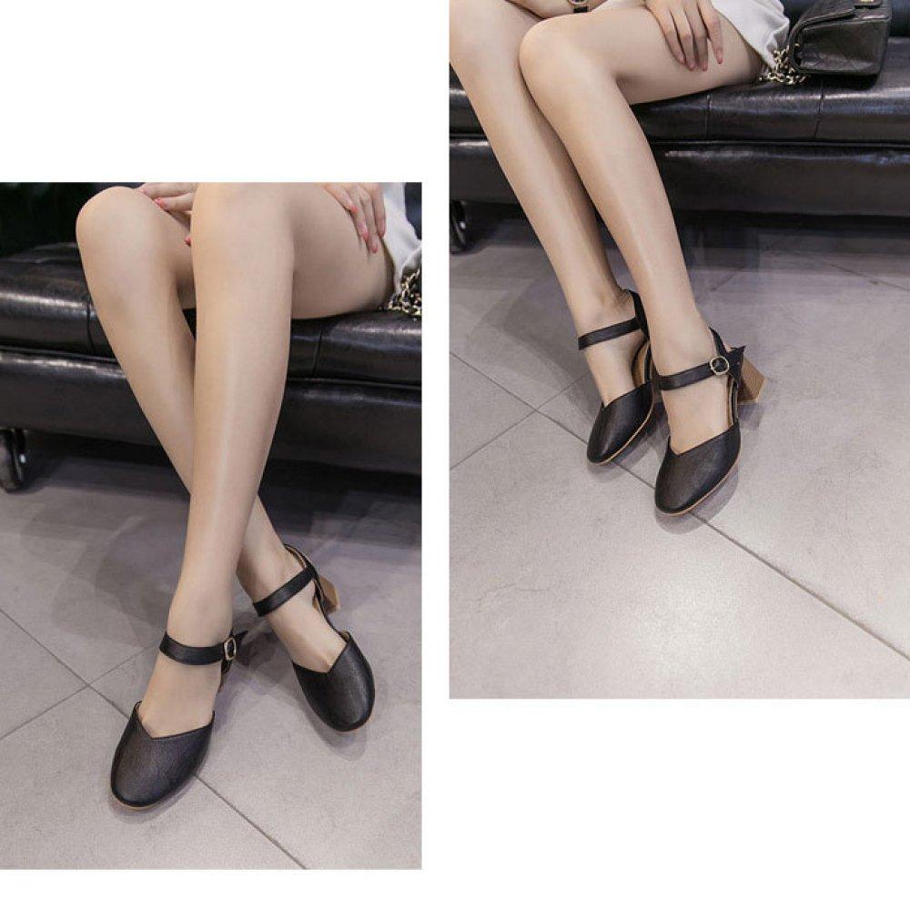 DKFJKI Wortschnalle-Sandalen der Frauen Mary Jane-Schuhe mit Einem Einem Einem Rauhen mit Einem Einzelnen Schuhen Wilde Mode b06156