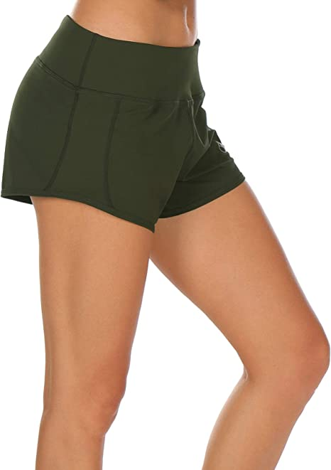 icyzone Damen Laufshorts Sport Hosen Kurze Yoga Fitness Shorts 2 in 1
