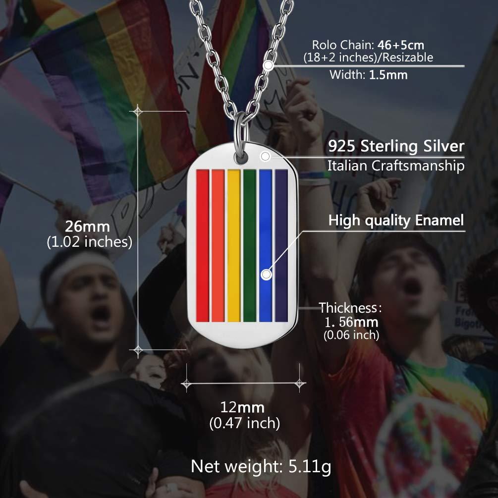 PROSTEEL personalisiert Unisex Collier LGBT Pride Homosexuell Gay /& Lesbian Halskette Name Texte Gravur Regenbogen Stab//Ring//Kreuz//Dog Tag Anh/änger Geschenk f/ür M/änner Frauen Edelstahl//18k vergoldet