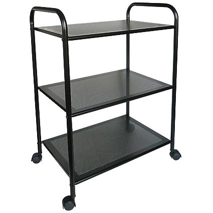 Laroom Carrito 3 estantes, Acero Inoxidable y PVC, Negro